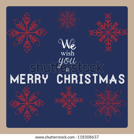 Retro simple Christmas card with red snowflakes on blue background with greetings - stock vector