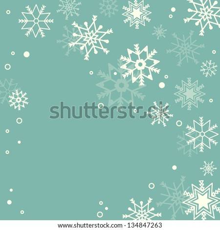 Retro simple Christmas card with white snowflakes - stock vector