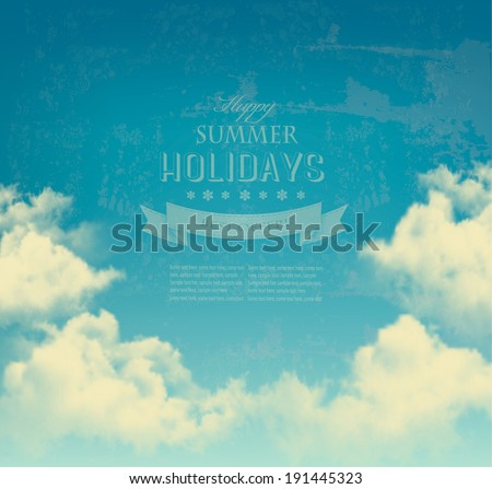 Retro sky with clouds background. Vector. - stock vector