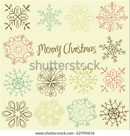 Retro Snowflakes - stock vector