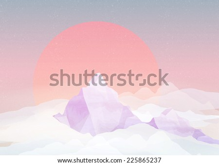 Retro Snowy Mountains in Clouds - Vector Illustration - stock vector