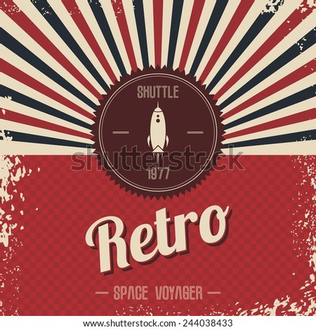 retro space rocket - stock vector