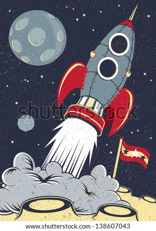 Retro Space Rocket Lifts Off.   - stock vector