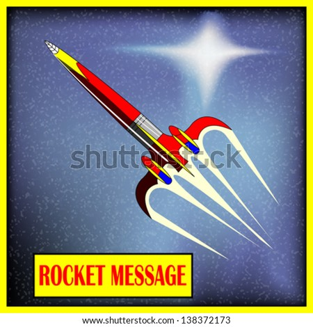 Retro Space Rocket, vector background with a comic-book spaceship - stock vector