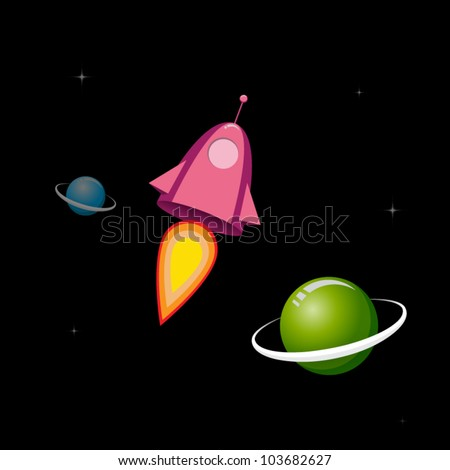 Retro space ship and planets - stock vector