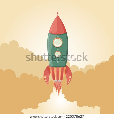 Retro Spaceship vector poster template. - stock vector