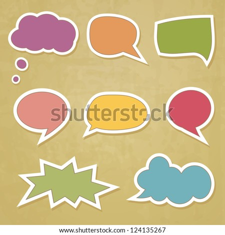 retro speech bubbles on the grungy background - stock vector
