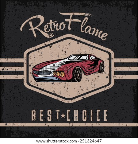 retro sport car old vintage grunge poster - stock vector