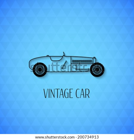 Retro sport racing vintage car with shadow isolated on triangle geometric texture, classic garage sign vector illustration background can be used for design, card, infographic - stock vector
