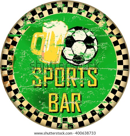 retro sports bar sign, soccer and beer, vector illustration - stock vector