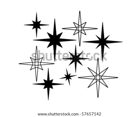 Retro Stars 7 - Retro Clip Art - stock vector