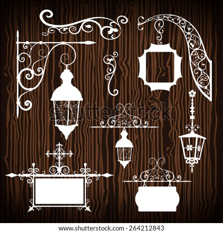 Retro street lanterns isolated on wooden backdrop  - stock vector
