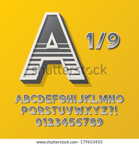 Retro Stripe Style 1/9 Alphabet and Numbers, Eps 10 Vector Editable, No Clipping Masks - stock vector
