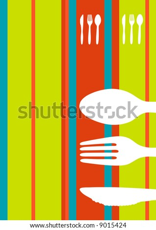 Retro striped food/restaurant/menu design with cutlery silhouette - stock vector