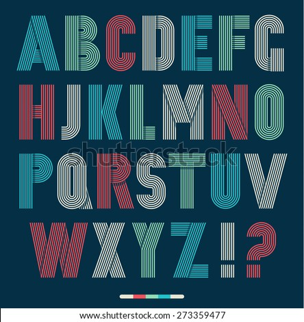 Retro stripes funky fonts set,trendy elegant retro style design. Vector design. - stock vector