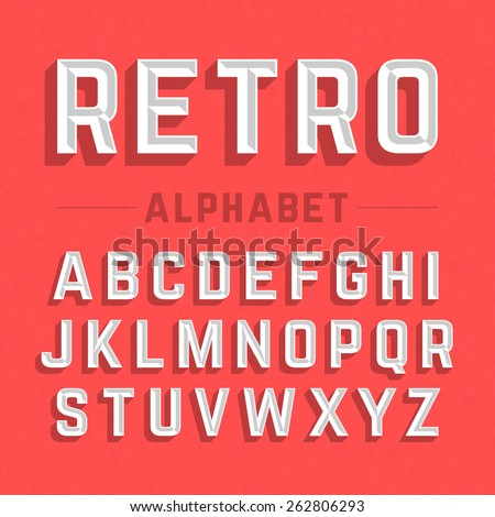 Retro style alphabet vector illustration - stock vector
