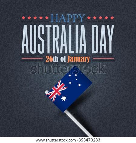 Retro Style Australia Day Background, National Celebration Card, Grunge Background, Badges Vector Emblem - stock vector
