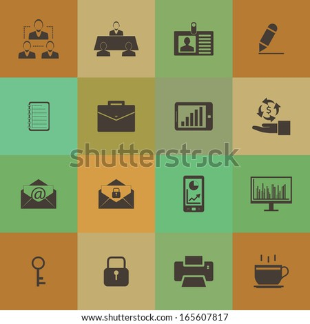 Retro style Business and office icons vector set. - stock vector