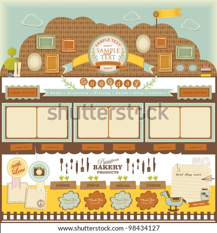 Retro style cafe elements 3 - stock vector