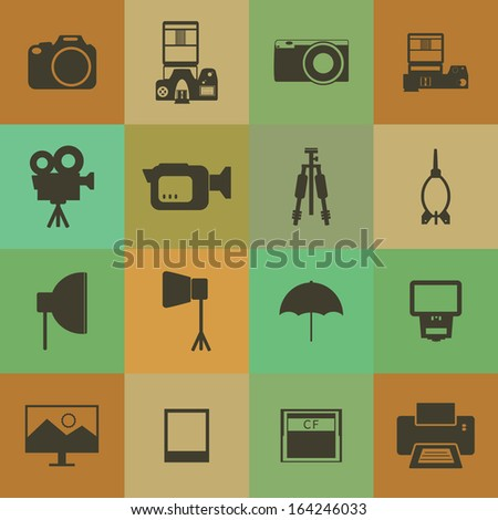 Retro style Camera and accessory icons vector set. - stock vector
