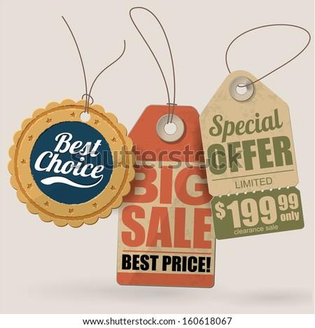 Retro style cardboard vintage sale labels. Vector. - stock vector