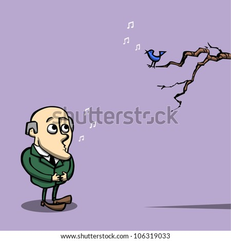 Retro-style cartoon illustration of a businessman whistling a duet with a bird on a tree branch. - stock vector