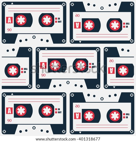 retro style cassette tape pattern. vector, 80s object symbol. 1980s music poster design. urban graffiti style wallpaper with analogue audio cassette - stock vector