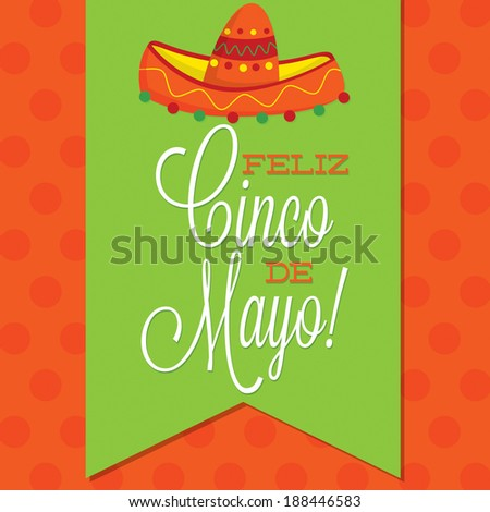 Retro style Cinco de Mayo (Happy 5th of May) card in vector format. - stock vector
