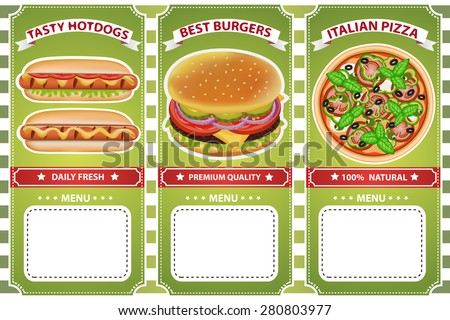 Retro style delicious burger, pizza and hot dog cafe menu. Vector illustration can be used for food menu or posters design, prints, web and other crafts. - stock vector