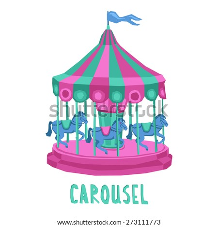 Retro style entertainment park carousel with spinning horses isolated on white background vector illustration - stock vector