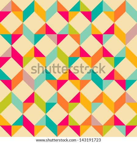 Retro style geometrical seamless pattern - stock vector