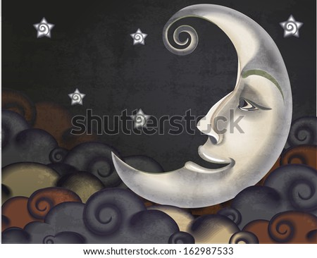 Retro style half moon, clouds and stars illustration - stock vector