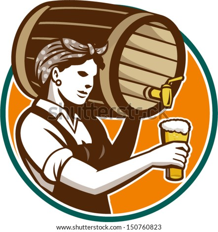 Retro style illustration of a female woman bartender pouring keg barrel of beer into pint glass set inside circle on isolated white background. - stock vector
