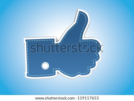 Retro Style Like / Thumbs Up symbol - stock vector