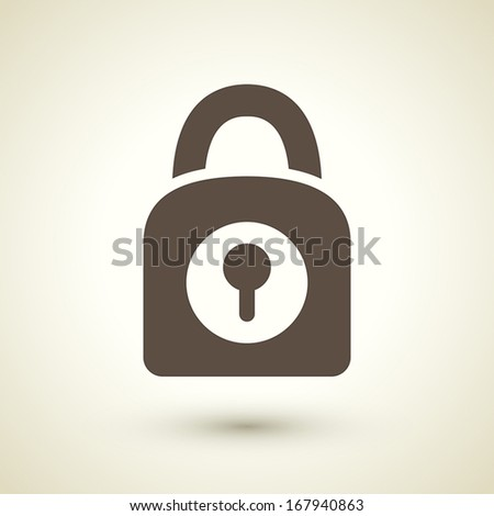 retro style lock icon isolated on brown background - stock vector