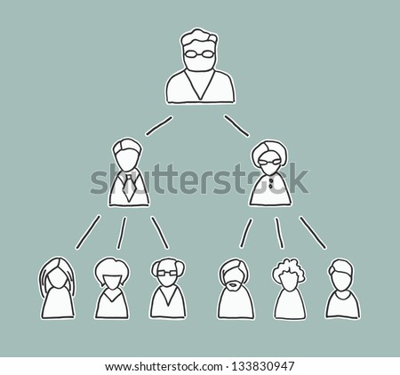 Retro style management chart with simple line drawn people icons, showing the chain of command from the boss downwards - stock vector