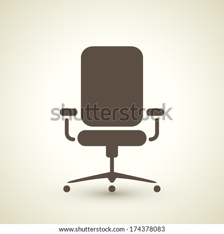 retro style office chair icon isolated on brown background - stock vector
