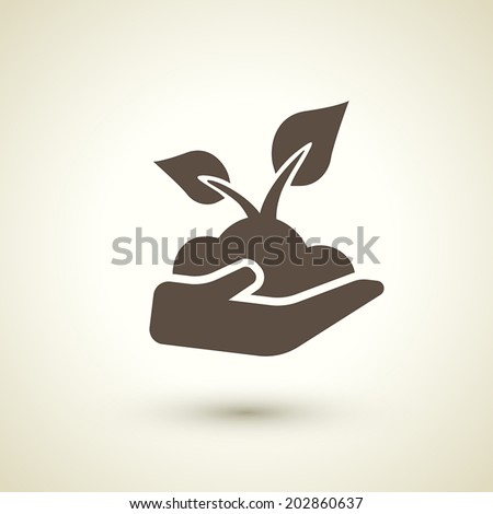 retro style seedling icon isolated on brown background - stock vector
