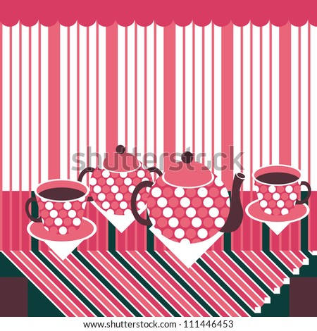 Retro style teapot, cups and sugar basin standing on the stylized table covered with striped tablecloth - stock vector