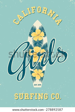 Retro style typographic design and a floral decoration surfboard. Yellow hibiscus flowers and blue palm leaves surfboard design. Modern poster, card, flyer, t-shirt, apparel design. - stock vector