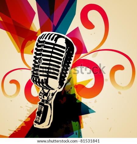 retro style vector mic illustration - stock vector