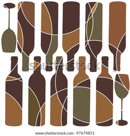 Retro style wine glass background - stock vector