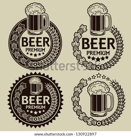 Retro Styled Beer Seals / Labels - stock vector
