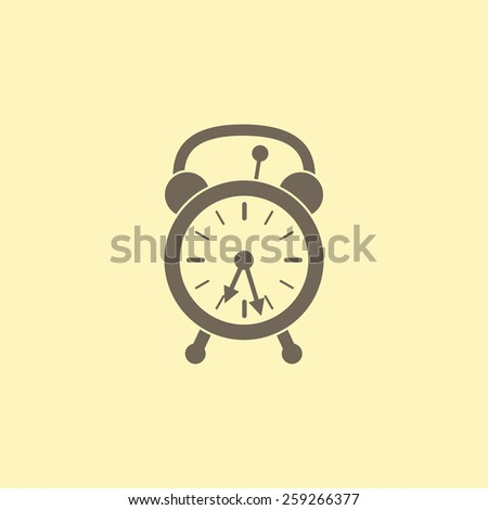 Retro styled beige alarm clock with two arrows isolated on flaxen background. Logo template, design element - stock vector
