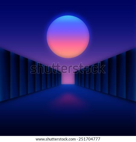 Retro styled digital futuristic landscape with moon and dark corridor gate. - stock vector