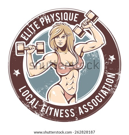 Retro styled fitness lady. Grunge gym emblem with sexy girl. Vector art. - stock vector