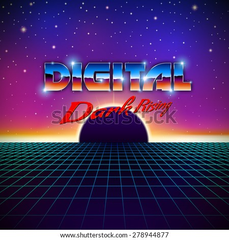 Retro styled futuristic landscape with lettering, shiny grid and dark planet - stock vector
