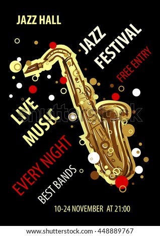 Retro styled Jazz festival Poster. Abstract style vector illustration. Jazz music festival, poster background template. - stock vector