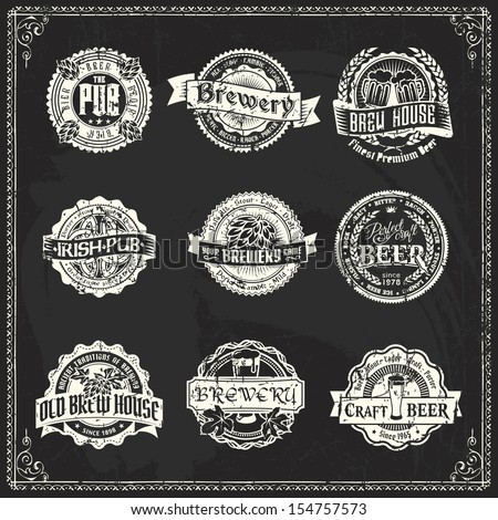 Retro styled labels of beer or brewery on a blackboard. Good as a template of advertisement.  - stock vector