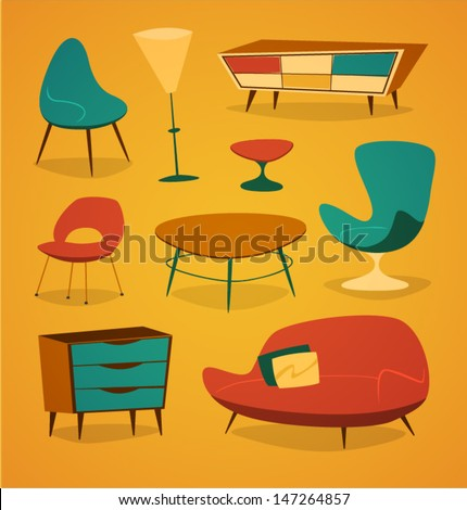 Retro styled modern furniture. Household series vector illustration. - stock vector